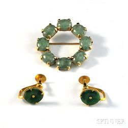 Pair of 22kt Gold and Jade Earrings and a 14kt Gold and Jade Circle Pin