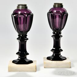 Pair of Amethyst Pressed Glass Loop Pattern Lamps