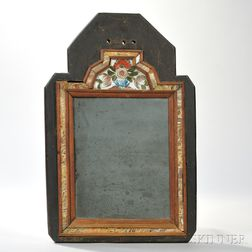 Reverse-painted Glass and Molded Walnut Courting Mirror in Frame