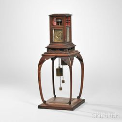 Japanese Dai Tokei or Lantern Clock on Wooden Stand