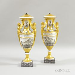 Pair of French Gilt Porcelain Urns Depicting Robinson Crusoe