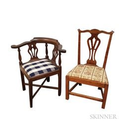 Queen Anne Cherry Roundabout Chair and a Chippendale Maple Side Chair