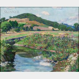 Ralph Taylor Shultz (American, 20th Century)      Summer Landscape with Stream and Hills