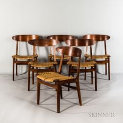 Six Teak Caned-seat Chairs