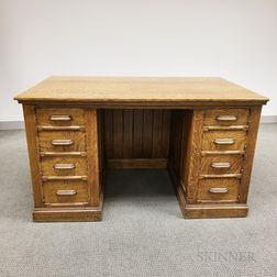 Carved Oak Double-pedestal Desk