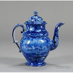 Historic Blue and White Transfer Decorated Pottery Coffeepot