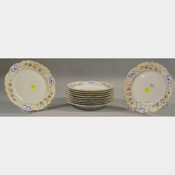 Set of Twelve Portuguese Vista Alegre Hand-painted Floral-decorated Porcelain   Plates,