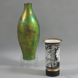 Large Zsolnay Pottery Vase and Hollohaza Vase