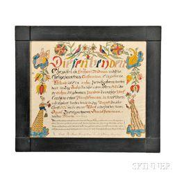 Birth Certificate Fraktur by Daniel Peterman (1797-1871)