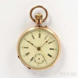 Swiss 14kt Gold Open-face Watch