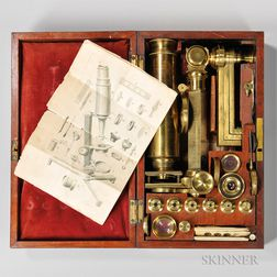 I.P. Cutts Lacquered Brass Compound Microscope