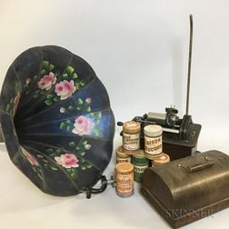 Oak-cased Edison Cylinder Phonograph, Cylinders, and a Morning Glory Horn.     Estimate $200-250