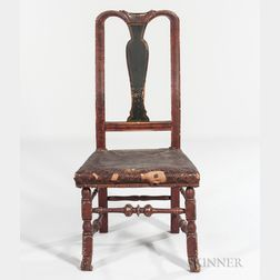 Paint-decorated Queen Anne Spanish-foot Side Chair