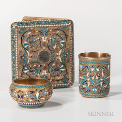 Three Pieces of Russian .875 Silver-gilt Cloisonne Enamel