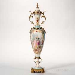Bronze-mounted Sevres Porcelain Vase and Cover