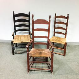 Two Ladder-back Armchairs and a Side Chair