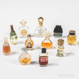 Eleven Miniature Glass Perfumes