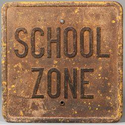 "Cast Iron ""School Zone"" Sign"