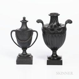 Two Wedgwood & Bentley Black Basalt Vases