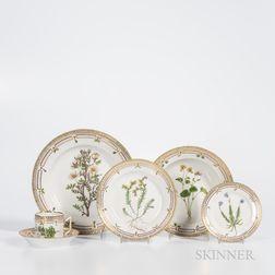 Sixty-eight-piece Royal Copenhagen Flora Danica Service