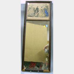Mahogany Veneer Framed Mirror with a Godeys Fashion Print Tablet.