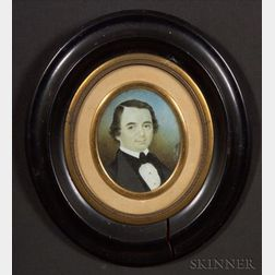 American School, 19th Century    Portrait Miniature of Daniel Hall.