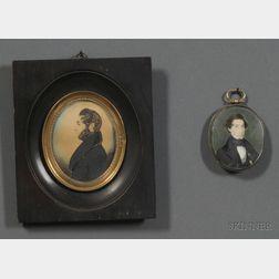 American School, 19th Century      Lot of Two Portrait Miniatures of Gentlemen.
