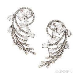 18kt Blackened Gold, White Sapphire, and Diamond Earrings