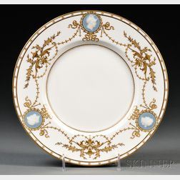 Ten Minton Porcelain Pate-sur-Pate Decorated Plates