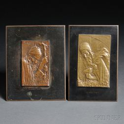 Two Moshe Murro Cast Bronze Plaques Depicting Yemenite Jews