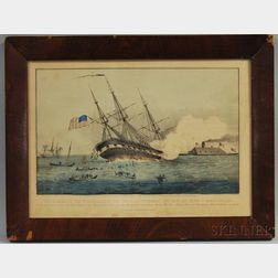 Framed Currier & Ives Hand-colored Engraving The Sinking of the Cumberland by the Iron Clad Merrimac, Off Newport News VA March 8th