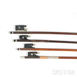 Three Violin Bows and a Viola Bow, Various Mounts