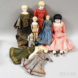 Six China Shoulder Head Dolls