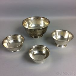 Four Sterling Silver Revere Reproduction Bowls
