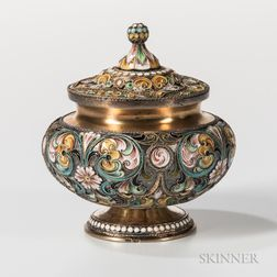 Russian .875 Silver and Cloisonne Enamel Covered Cup