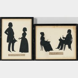 Two Auguste Edouart Silhouettes of Men and Women of the Rawson and Reynolds Families