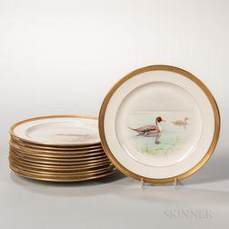 Twelve Lenox China Hand-painted Bird Plates