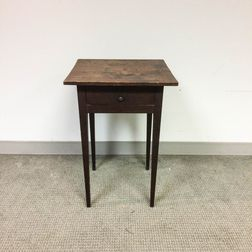 Federal Cherry One-drawer Stand and a Red-painted Stretcher-base Tavern Table.     Estimate $300-500