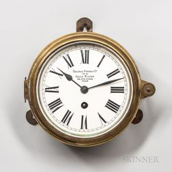 Chateau Freres & Cie. Brass Ship's or Deck Clock