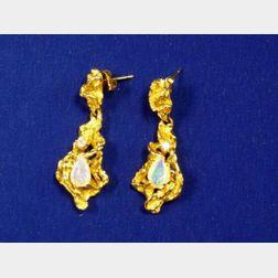 18kt Opal and Diamond Pendant Earrings.