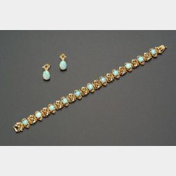14kt Gold and Opal Bracelet and Matching Earrings.