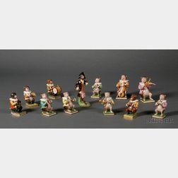 Assembled Set of Twelve Bloor Derby Monkey Orchestra Figures