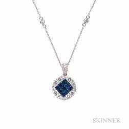 14kt White Gold, Sapphire, and Diamond Pendant