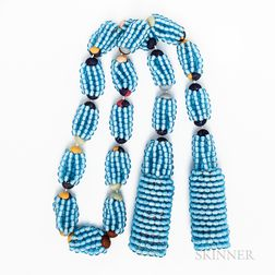 Blue Glass Beaded Tassel Necklace
