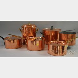 Six Assorted Copper Stockpots and Sauce Pans
