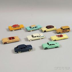 Nine Meccano Dinky Toys Die-cast Metal Automobiles
