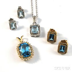 Small Group of Gold and Light Blue Stone Jewelry