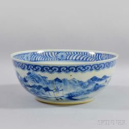 Blue and White Punch Bowl