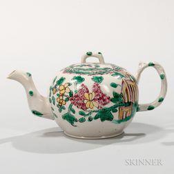 Staffordshire Enameled Salt-glazed Stoneware Teapot and Cover