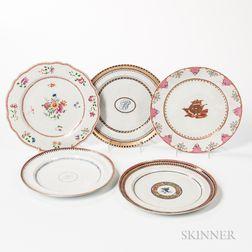 Five Export Porcelain Dinner Plates